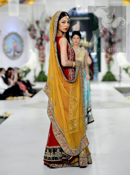 Red Back Trail Gown Yellow Orange Lehenga Dupatta for Mehndi Occasion