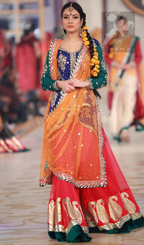 Royal Blue - Deep Orange - Red Mehndi Wear Dress