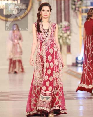 Shocking Pink Light Brown Andrakha Style Bridal Maxi with Embroidered Dupatta