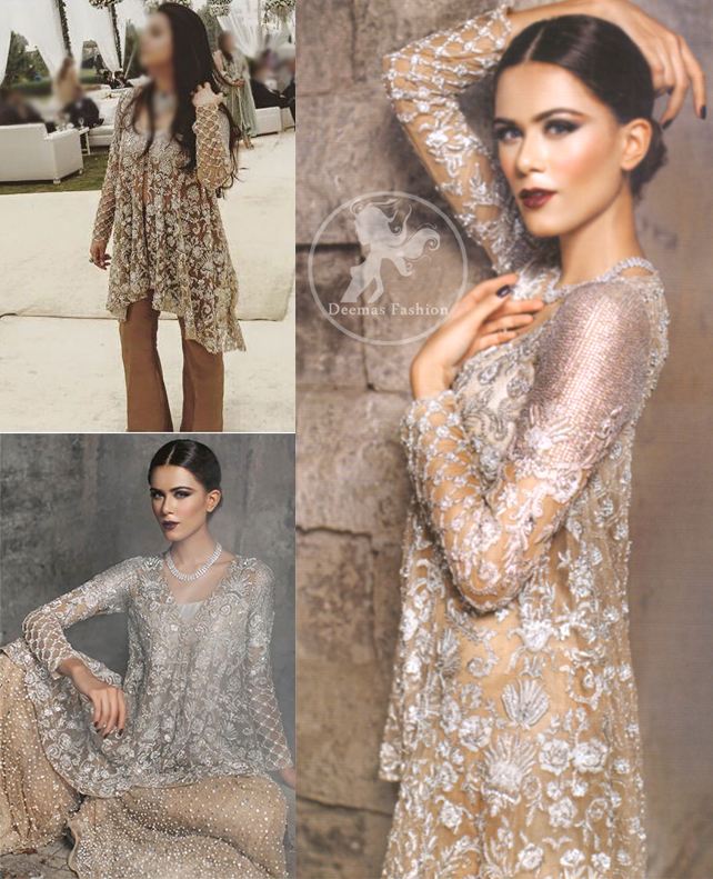 Silver & Light Golden Embroidered Short Shirt with Sharara