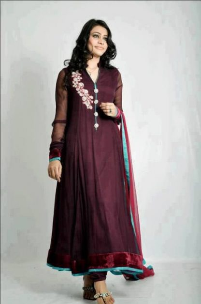 Plum Casual Wear Frock with Churidar Pajama