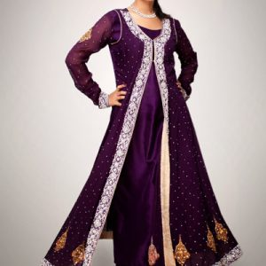 Purple Front Open Semi Formal Gown