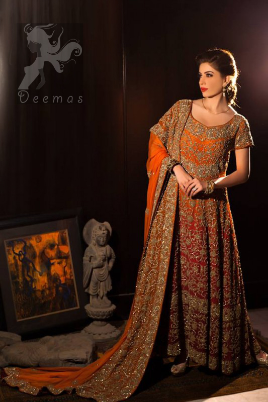 Latest Two Tone Red & Orange Maxi for Bride