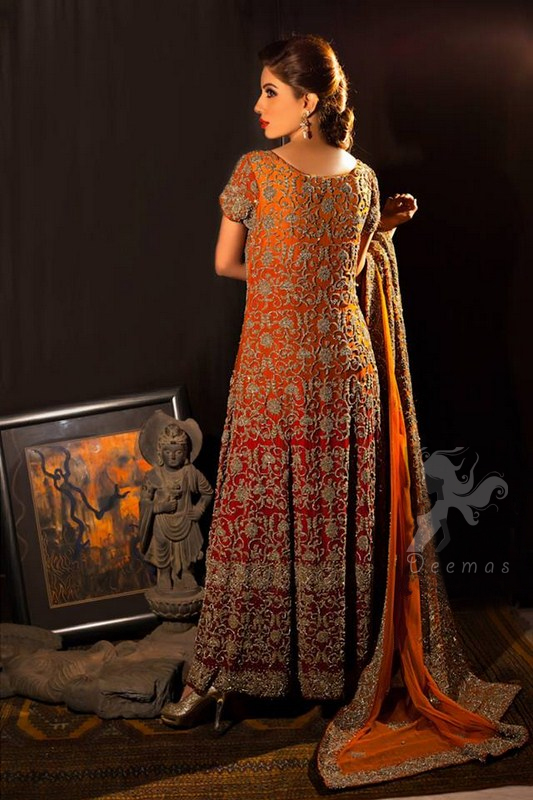 Traditional Bridal Dress Two Tone Deep Red And Orange Fully Embroiderd Long Dress and Dupatta