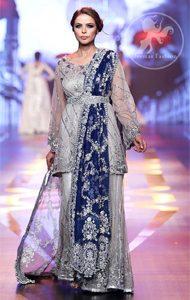 Silver Grey Bridal Dress - Short Shirt -Embroidered Sharara - Royal Blue Dupatta