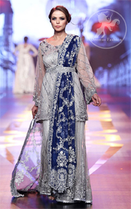Silver Grey Bridal Dress – Short Shirt -Embroidered Sharara – Royal Blue Dupatta