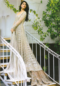 Beige Bridal Frock - Dupatta - Light Brown Back Trail Lehenga