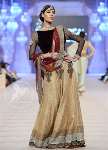 Dark Brown - Fawn- Deep Red Bridal Lehenga Choli