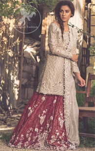 Fawn Bridal Wear Lehenga - Short Shirt - Dupatta - Deep Red Lehenga