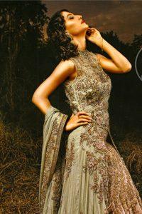 Pakistani Bridal Dresses 2017 - Light Green - Peach - Double Layer - Back Trail Maxi