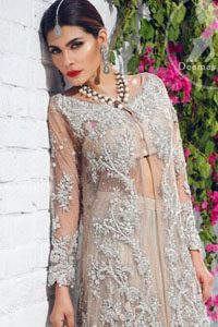 Beige Front Open Gown - Crushed Lehenga