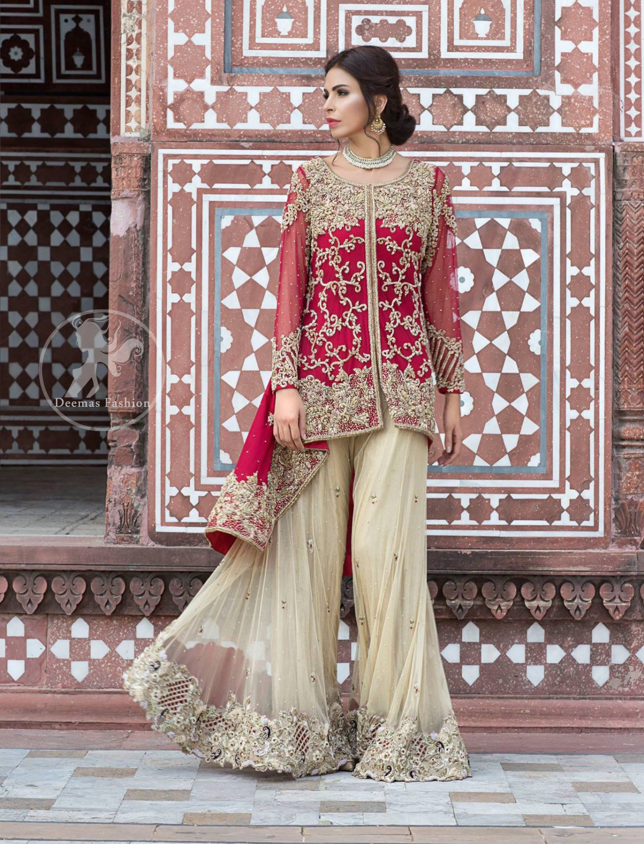 deep-red-front-open-short-shirt-beige-sharara-3