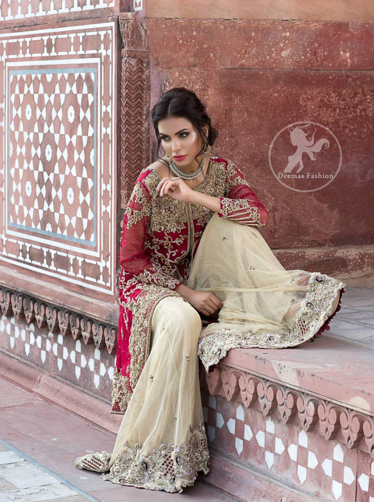 deep-red-front-open-short-shirt-beige-sharara