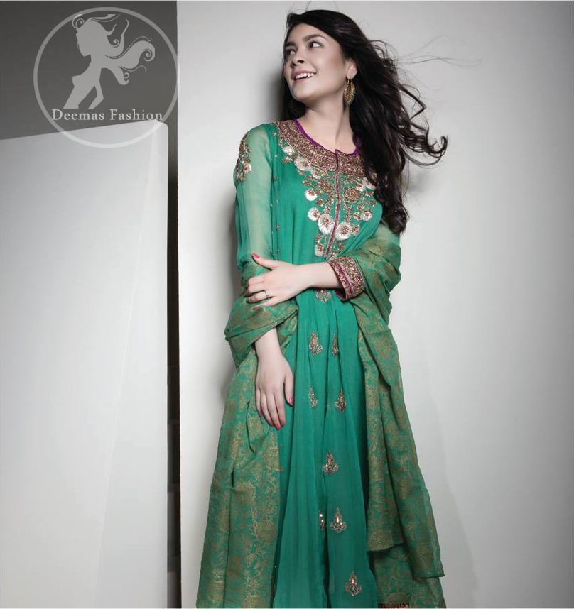 Dark Green Anarkali Frock - Churidar Pajama