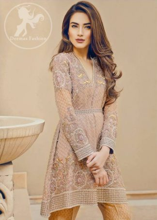 Light Brown Short Frock – Jamawar Bell Bottom Pants