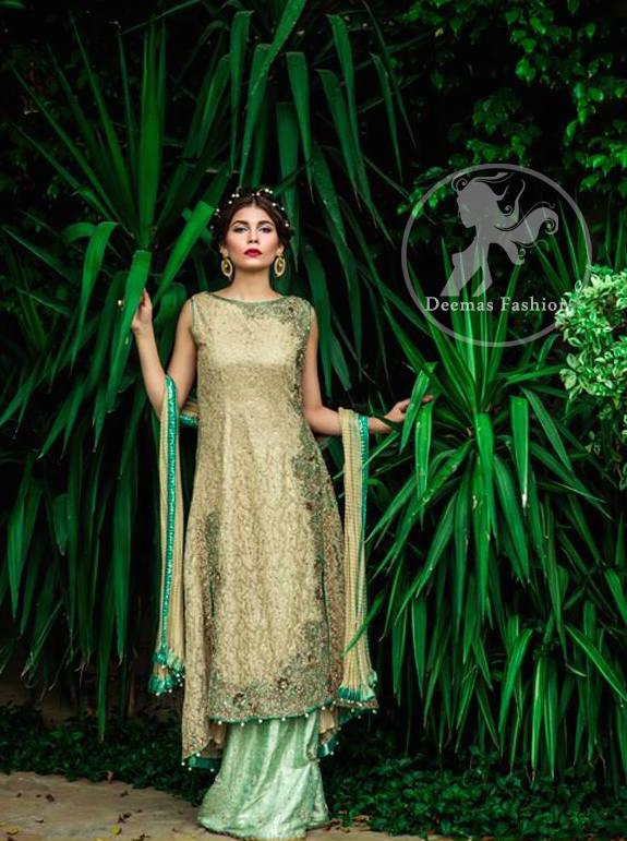 Light Golden Long Shirt - Pistachio Green Sharara