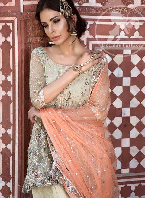 Beige Aline Short Frock - Traditional Gharara - Peach Embroidered Dupatta