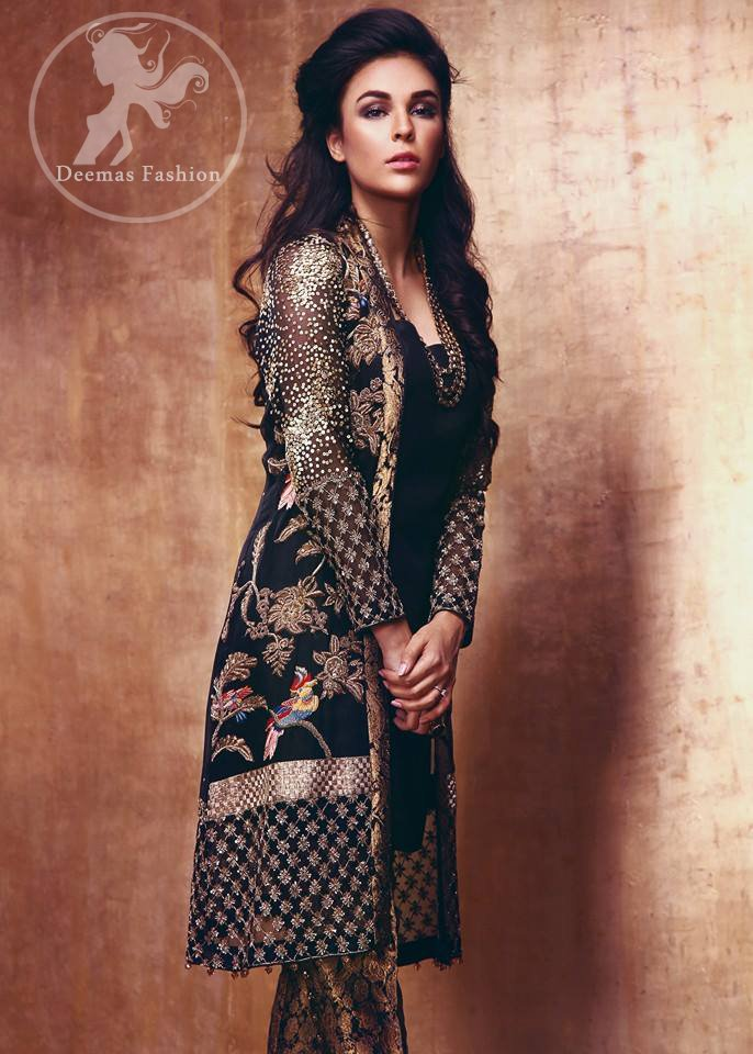 Black Semi Formal Embroidered Gown - Jamawar Cigarette Pants