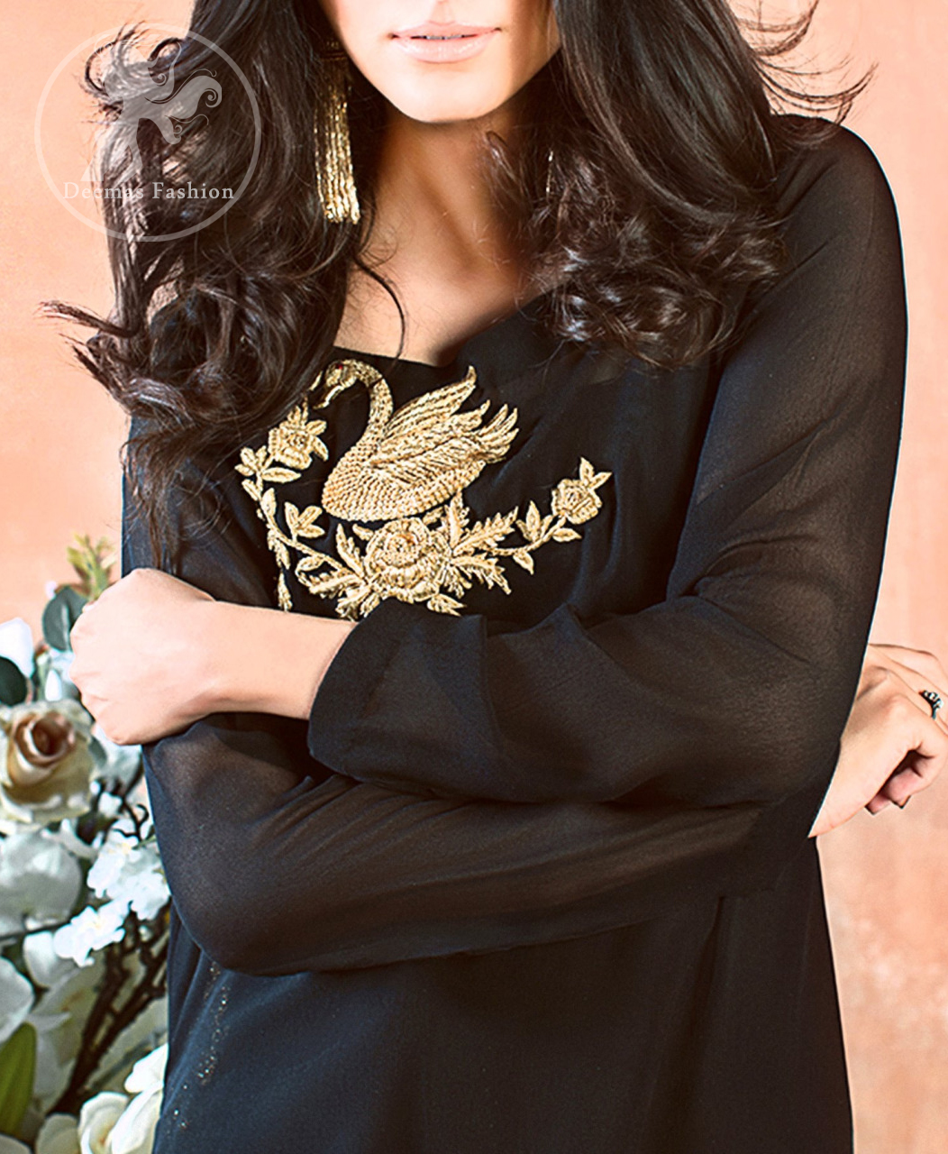 A must have creation for day to evening wear. Exhibit elegance in this black straight shirt enhanced with antique kora and dabka embroidery adorned with Swarovski crystals and zardozi. This shirt is made up of chiffon fabric and paired up with black raw silk bell bottom. This outfit is coordinated with banarsi jamawar dupatta.