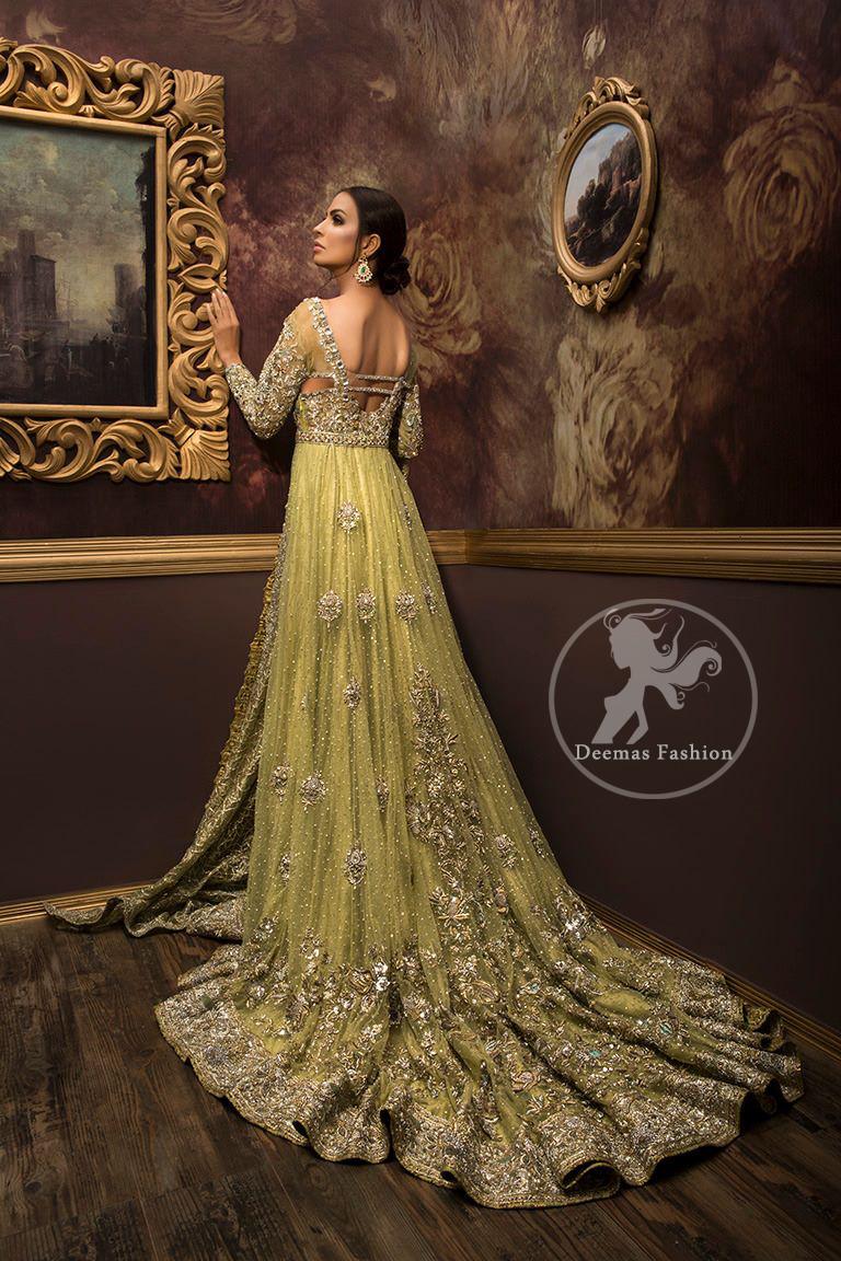 Designer Dress 2017 - Lime Green Fully Embroidered Back Trail Bridal Maxi Designer Dress 2017 - Lime Green Fully Embroidered Back Trail Bridal Maxi
