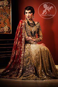 Golden Front Open Back Trail Gown - Bridal Lehenga - Deep Red Dupatta