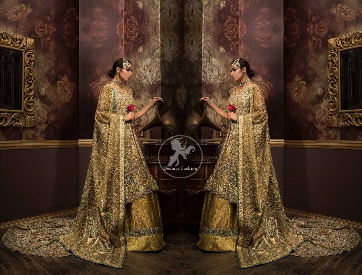 Front open back trail gown comes with lehengha and dupatta.