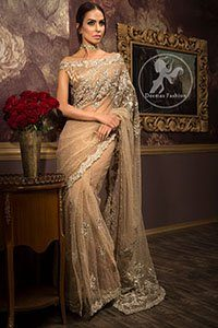 Light Brown Party Wear - Saree Jamawar Blouse