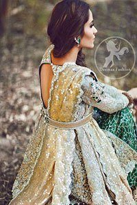 Light Fawn Front Open Shirt - Bottle Green Bridal Lehenga