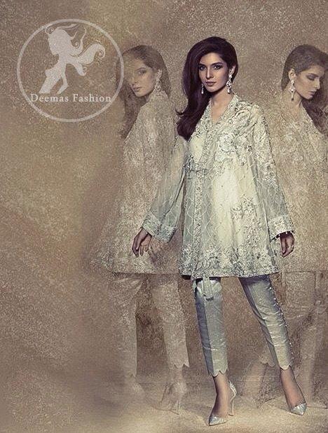 Light Gray Aline Short Dress - Silver Cigarette Pants