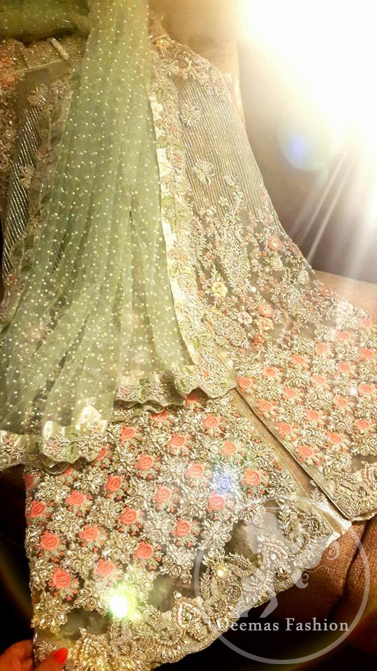 Mint Green Front Open Bridal Gown - Embroidered Dupatta