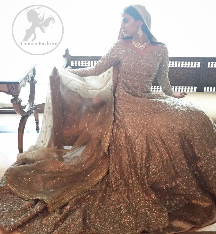 Anarkali Pishwas Dress 2017 - Light Brown Back Trail Frock - Lehenga