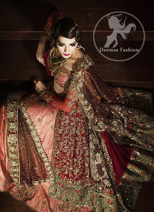 Bridal Lehenga Choli Design 2017 - Deep Red Gown - Dark Peach Lehenga