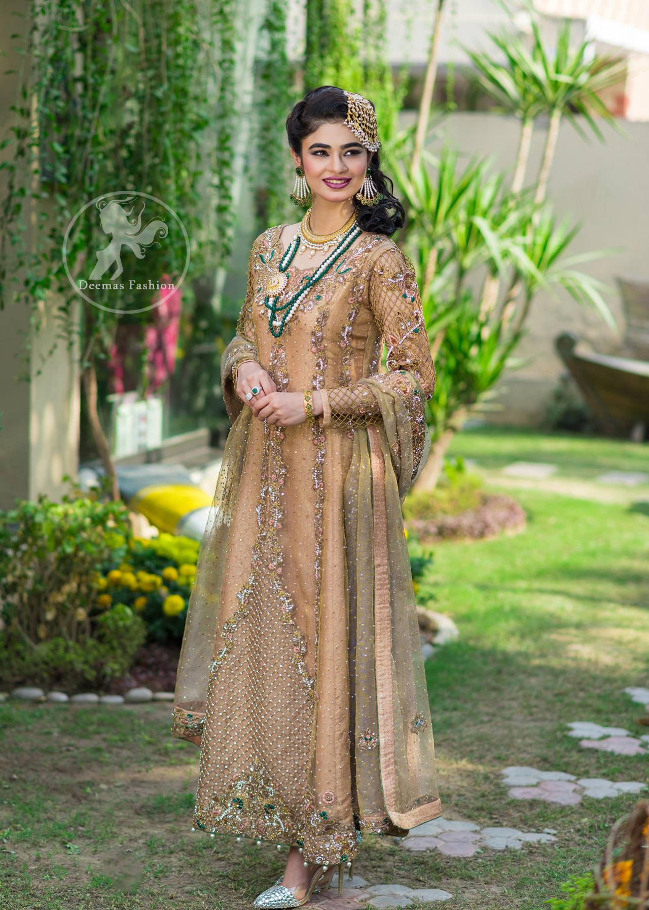 Latest Pakistani Designer Dress 2017 - Peach Party Wear Maxi