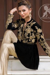 Latest Fashion 2017 - Stylish Black Peplum Top - Beige Bell Bottom Pants