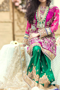 Mehndi Dresses 2017 - Shocking Pink Shirt - Bottle Green Sharara - Beige Dupatta