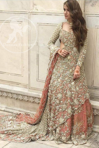 Pakistani Bridal Dress - Peach Back Trail Maxi- Embroidered Lehenga