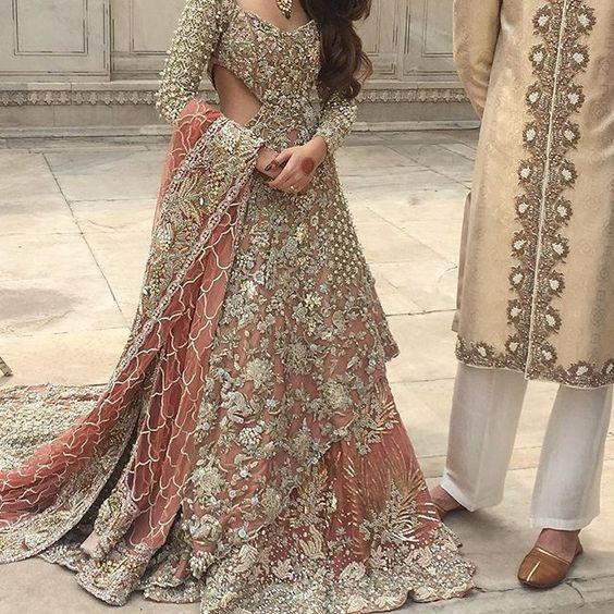 Pakistani Bridal Dress 2018 - Peach Back Trail Maxi- Embroidered Lehenga