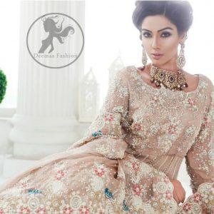 Pakistani Bridal Dress 2017 - Light Fawn Back Trail Frock - Peach Jamawar Lehenga