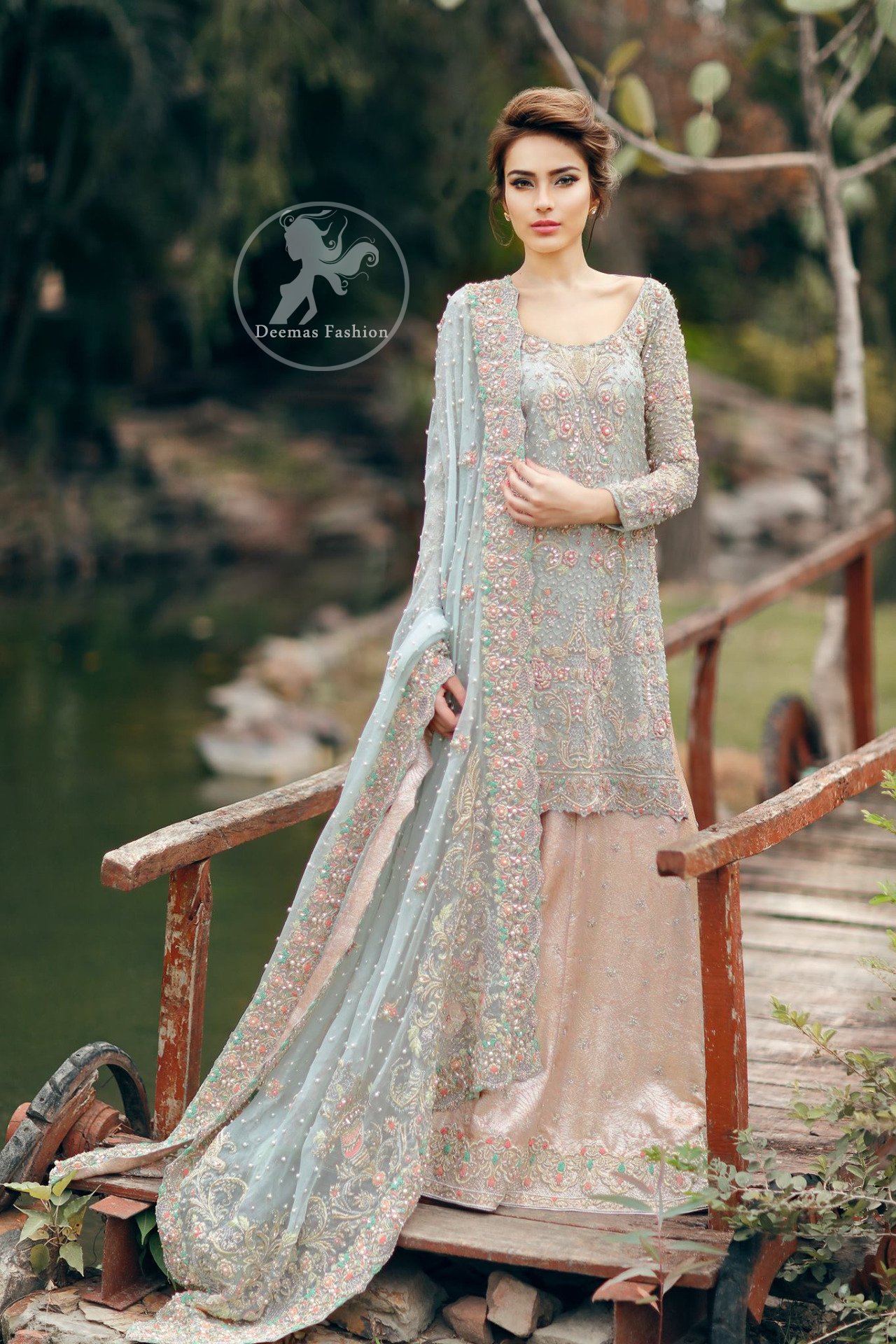 Bridal Dress 2017 - Light Blue Embroidered Shirt - Pink Lehenga