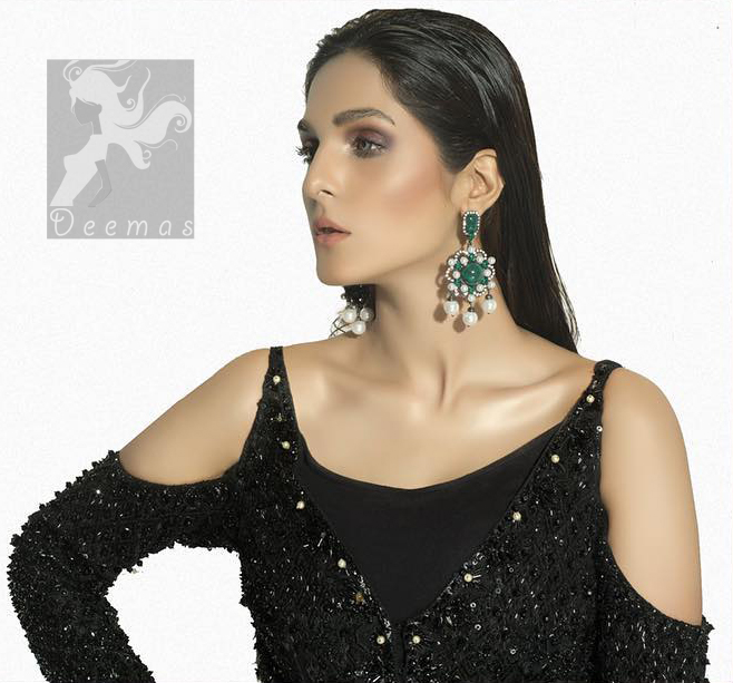 Black peplum having matching black embellishment all over peplum and trousers. Peplum comes with fully finished matching dupatta.