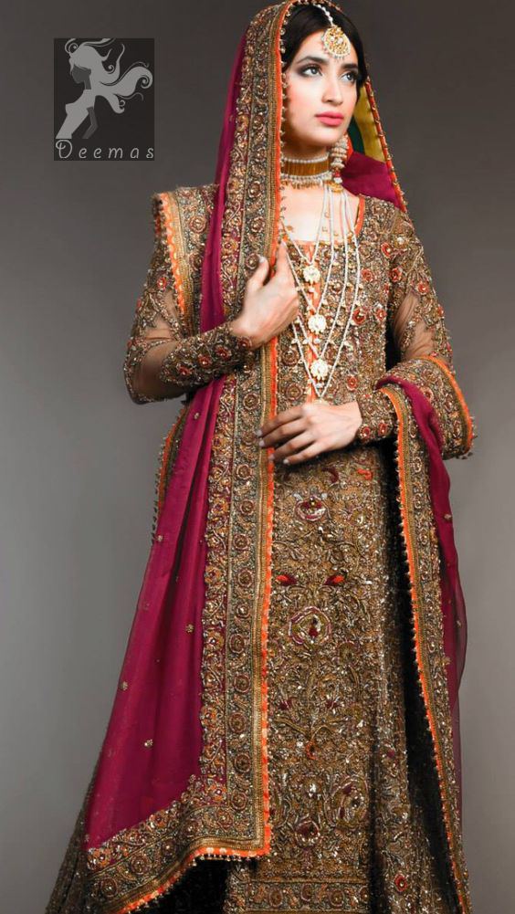 Dark brown heavily embellished back train maxi having rust piping with multiple colour embellishment on lehenga and pinkish red bridal dupatta having antique shades of embellishment all over the dress.