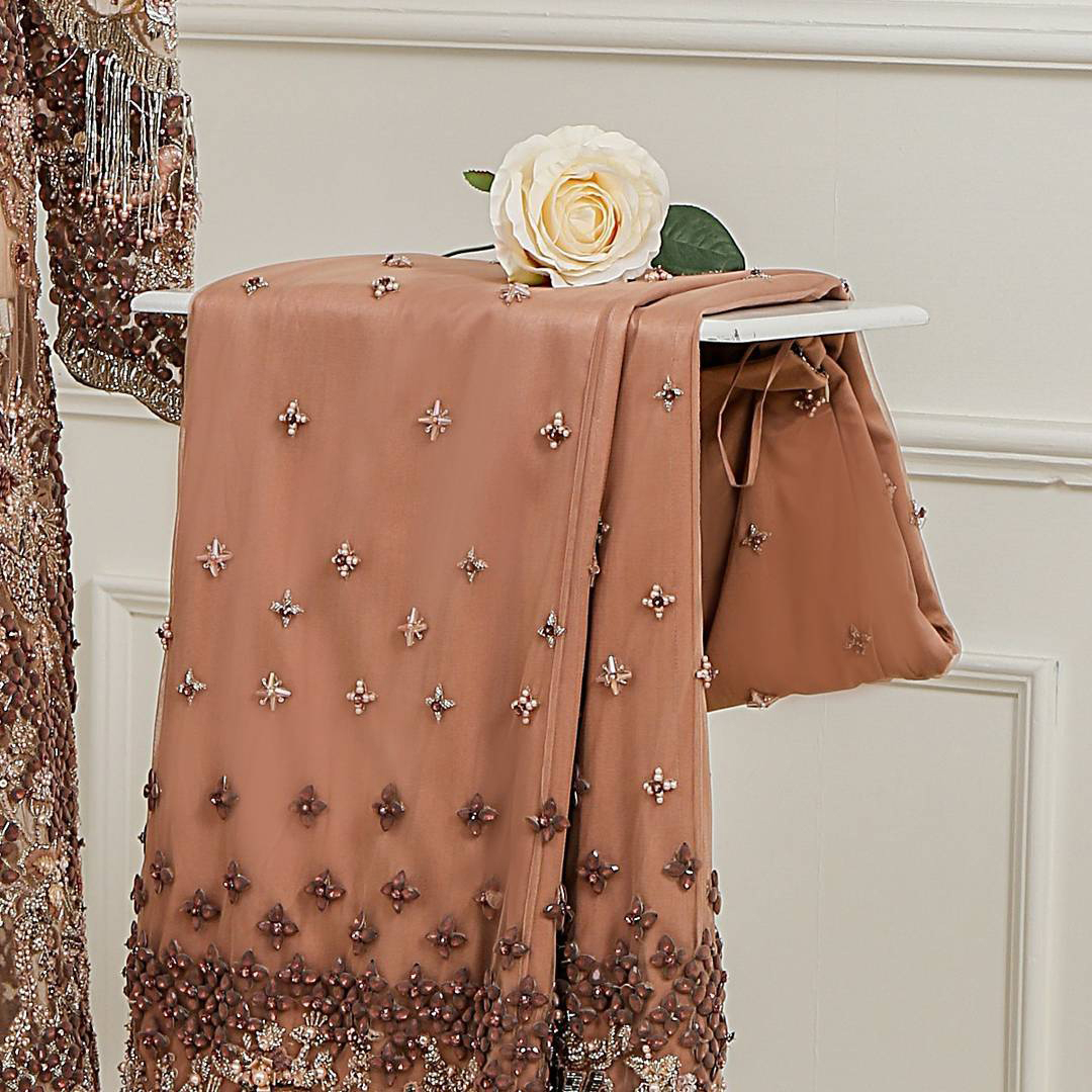 Light brown front open net maxi having brandy rose bodice. Maxi adorned with brown, light golden, champagne and silver embellishment. Pure organza dupatta adorned with embellished border.