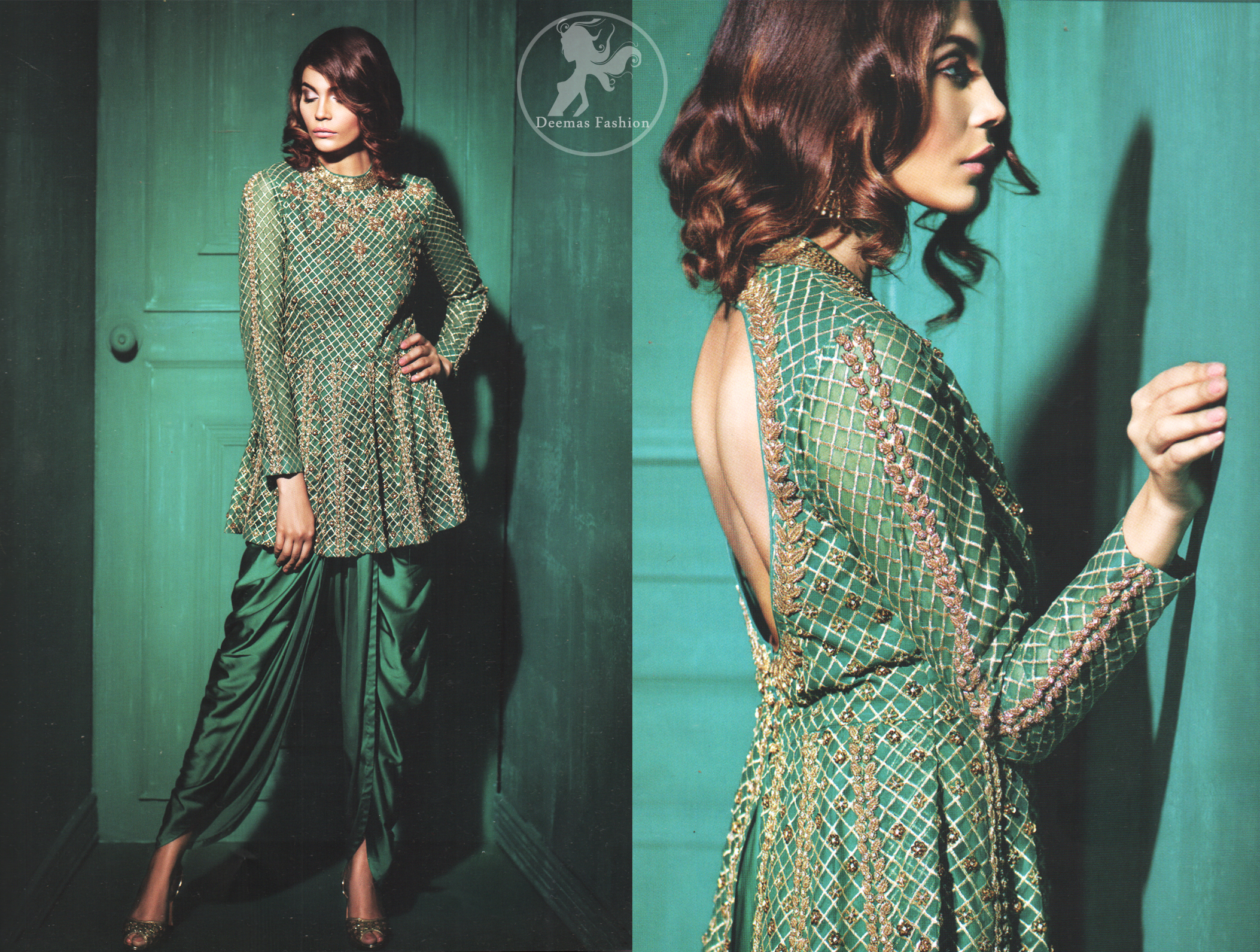 Party wear teal green peplum made with organza. Peplum having beautiful gold and antique hand embellishment. Peplum comes silky tulip and net dupatta.