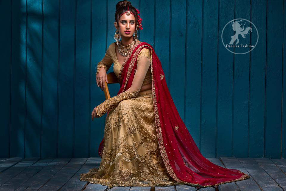 This outfit has antique brass pure banarsi jamawar blouse and embroidered net full sleeves. It comes with lehengha which embodies criss cross pattern all over it. It is further enhanced with floral borders around daman. Lehengha is scalloped and highlighted with tilla and silk thread embroidery (Resham). It is embellished with dull golden, antique shaded kora, dabka, tilla and sequins. This outfit is beautifully coordinated with scarlet embellished dupatta, decorated with four sided floral embroidery and spray of different sizes floral motifs and sequins all over it.