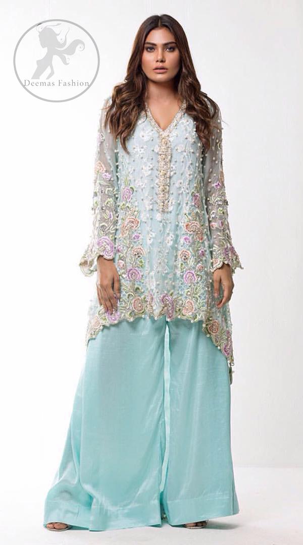 Light Blue Shirt Sharara Pants