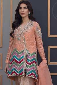 This beautiful self embroidered angrakha embellished with floral thread embroidery. This shirt is decorated with kora, tilla, dabka, swarovsky and sequins. It is allured with cold shoulder sleeves. Daaman of the shirt is decorated with different colour zik zak brocade applique which adds to the look. It is beautifully paired up with brocade trousers.It comes with organza dupatta.