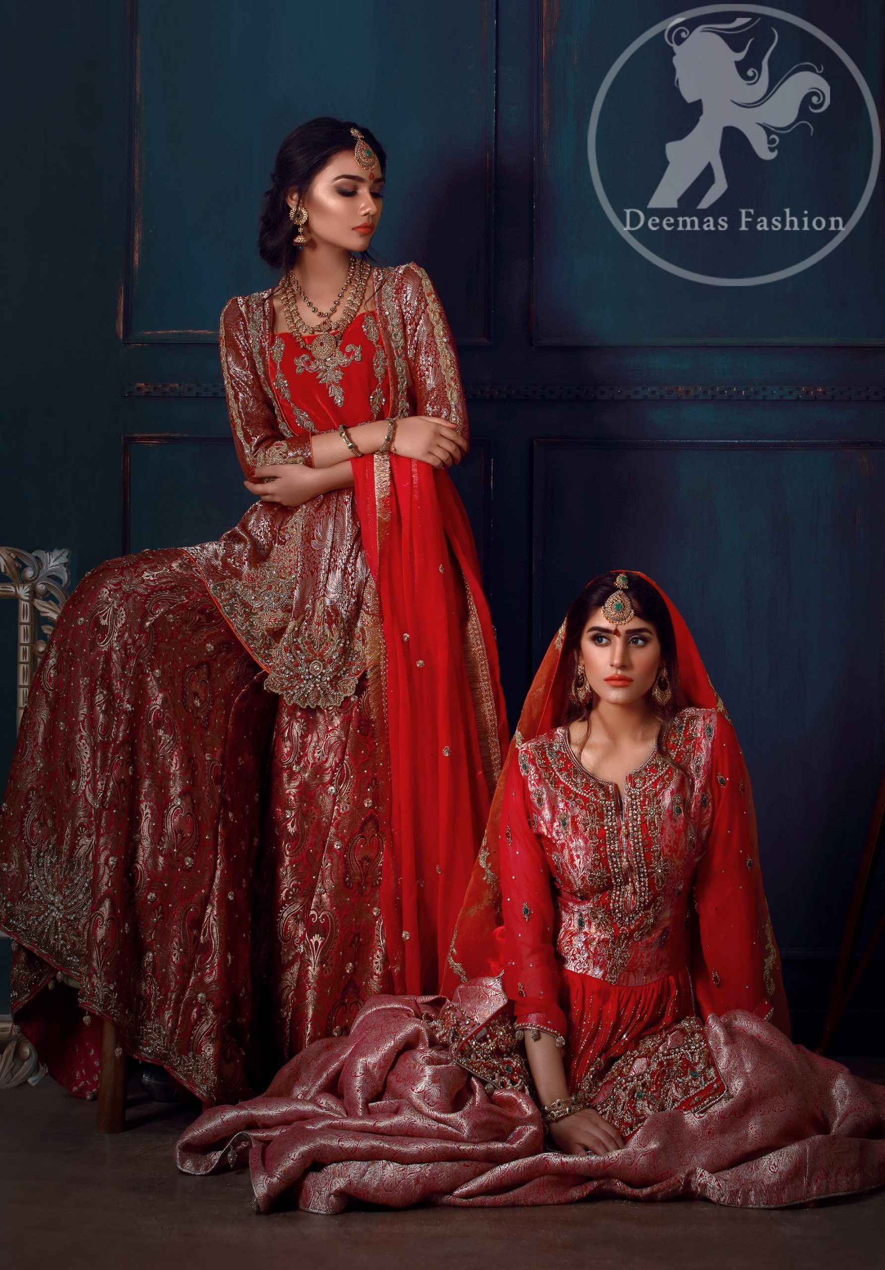 This dress is beautifully decorated with heavy embroidery. It is highlighted with kora, dabka, tilla, sequins and pearls. It comes with embroidered gharara. It is coordinated with chiffon dupatta which is sprinkled with sequins all over it. It is further furnished with four sided frilled lace.