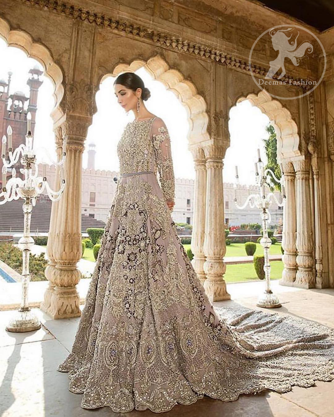 Redefine your style in this traditional and versatile ensemble ornamented with floral and geometric pattern embroidery furnished with kora, dabka, tilla, sequins, kundan, and pearls. It comes with brocade pajama. It is stunningly coordinated with Chiffon dupatta with embellished borders on all sides and sequins spray all over it.