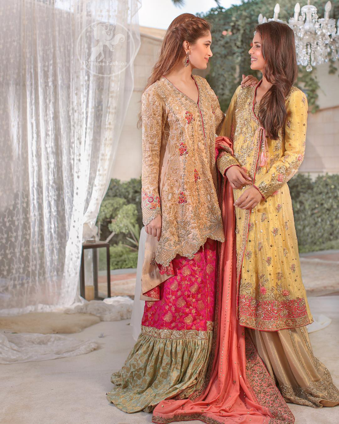 This outfit is perfect for mehendi mayon day. Heavily embellished in the front with intricate embroidered pattern done with golden kora dabka, kundan, tilla and sequins. Hemline is enhanced with peach embellished border adorned with kora dabka and thread embroidery. It is paired up with antique brass sharara with zerdosi work details on bottom. Dupatta having four sided embroidered edges and sequins spray.