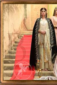 This outfit is beautifully sculptured with floral embroidery. It is further enhanced with kora, dabka, tilla, sequins and pearls. The daaman is emphasized with intricate details that gives perfect ending to this peplum. It is coordinated with straight trousers embellished with embroidery. The banarsi jamawar dupatta has scattered sequins all over. It is finished with jamawar piping all around the edges. It is allured with black embroidered shawl which adds to the look.